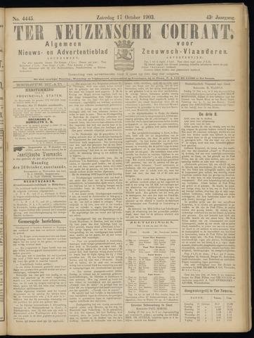 Ter Neuzensche Courant. Algemeen Nieuws- en Advertentieblad voor Zeeuwsch-Vlaanderen / Neuzensche Courant ... (idem) / (Algemeen) nieuws en advertentieblad voor Zeeuwsch-Vlaanderen 1903-10-17