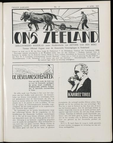 Ons Zeeland / Zeeuwsche editie 1927-04-23