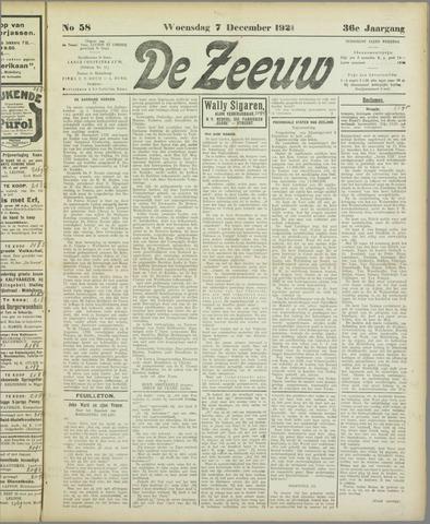 De Zeeuw. Christelijk-historisch nieuwsblad voor Zeeland 1921-12-07
