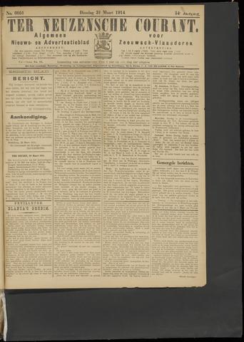 Ter Neuzensche Courant. Algemeen Nieuws- en Advertentieblad voor Zeeuwsch-Vlaanderen / Neuzensche Courant ... (idem) / (Algemeen) nieuws en advertentieblad voor Zeeuwsch-Vlaanderen 1914-03-31