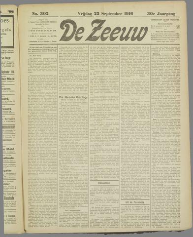 De Zeeuw. Christelijk-historisch nieuwsblad voor Zeeland 1916-09-22