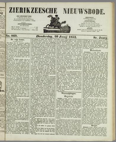 Zierikzeesche Nieuwsbode 1852-06-10