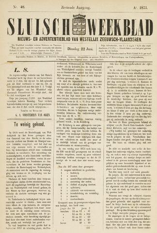 Sluisch Weekblad. Nieuws- en advertentieblad voor Westelijk Zeeuwsch-Vlaanderen 1875-06-22