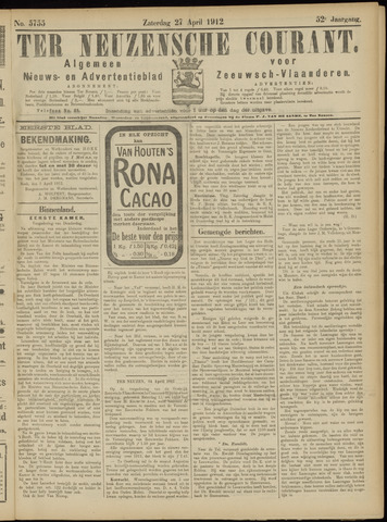 Ter Neuzensche Courant. Algemeen Nieuws- en Advertentieblad voor Zeeuwsch-Vlaanderen / Neuzensche Courant ... (idem) / (Algemeen) nieuws en advertentieblad voor Zeeuwsch-Vlaanderen 1912-04-27