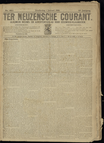 Ter Neuzensche Courant. Algemeen Nieuws- en Advertentieblad voor Zeeuwsch-Vlaanderen / Neuzensche Courant ... (idem) / (Algemeen) nieuws en advertentieblad voor Zeeuwsch-Vlaanderen 1920-01-01