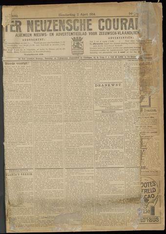 Ter Neuzensche Courant. Algemeen Nieuws- en Advertentieblad voor Zeeuwsch-Vlaanderen / Neuzensche Courant ... (idem) / (Algemeen) nieuws en advertentieblad voor Zeeuwsch-Vlaanderen 1914-04-02