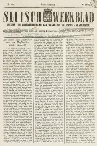 Sluisch Weekblad. Nieuws- en advertentieblad voor Westelijk Zeeuwsch-Vlaanderen 1864-11-25