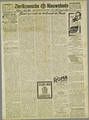 Zierikzeesche Nieuwsbode 1926-04-02