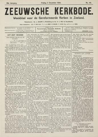 Zeeuwsche kerkbode, weekblad gewijd aan de belangen der gereformeerde kerken/ Zeeuwsch kerkblad 1924-12-05