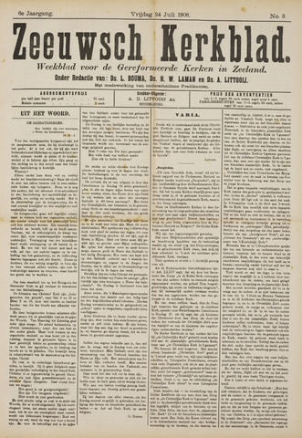 Zeeuwsche kerkbode, weekblad gewijd aan de belangen der gereformeerde kerken/ Zeeuwsch kerkblad 1908-07-24