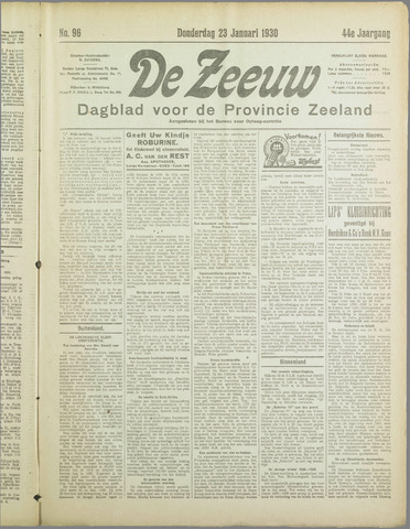 De Zeeuw. Christelijk-historisch nieuwsblad voor Zeeland 1930-01-23
