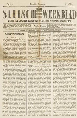 Sluisch Weekblad. Nieuws- en advertentieblad voor Westelijk Zeeuwsch-Vlaanderen 1871-06-02