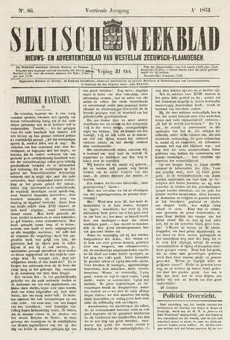 Sluisch Weekblad. Nieuws- en advertentieblad voor Westelijk Zeeuwsch-Vlaanderen 1873-10-31