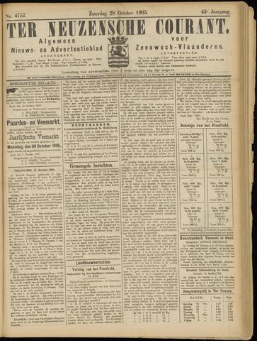 Ter Neuzensche Courant. Algemeen Nieuws- en Advertentieblad voor Zeeuwsch-Vlaanderen / Neuzensche Courant ... (idem) / (Algemeen) nieuws en advertentieblad voor Zeeuwsch-Vlaanderen 1905-10-28