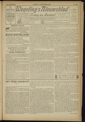 Zeeuwsch Nieuwsblad/Wegeling's Nieuwsblad 1925-09-11
