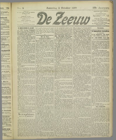 De Zeeuw. Christelijk-historisch nieuwsblad voor Zeeland 1918-10-05