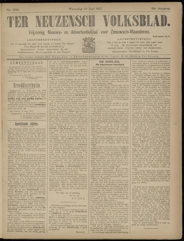 Ter Neuzensch Volksblad. Vrijzinnig nieuws- en advertentieblad voor Zeeuwsch- Vlaanderen / Zeeuwsch Nieuwsblad. Nieuws- en advertentieblad voor Zeeland 1917-06-20