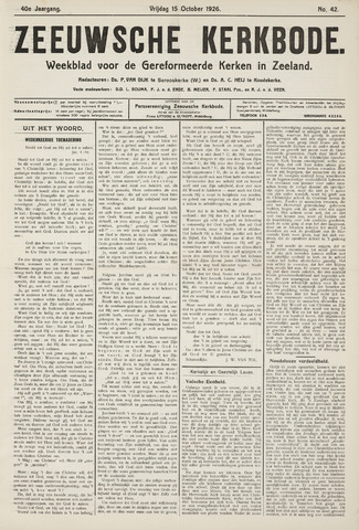 Zeeuwsche kerkbode, weekblad gewijd aan de belangen der gereformeerde kerken/ Zeeuwsch kerkblad 1926-10-15
