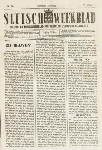 Sluisch Weekblad. Nieuws- en advertentieblad voor Westelijk Zeeuwsch-Vlaanderen 1873-09-26