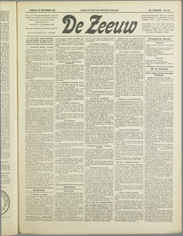 De Zeeuw. Christelijk-historisch nieuwsblad voor Zeeland 1934-09-25