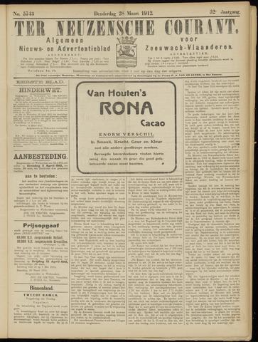 Ter Neuzensche Courant. Algemeen Nieuws- en Advertentieblad voor Zeeuwsch-Vlaanderen / Neuzensche Courant ... (idem) / (Algemeen) nieuws en advertentieblad voor Zeeuwsch-Vlaanderen 1912-03-28