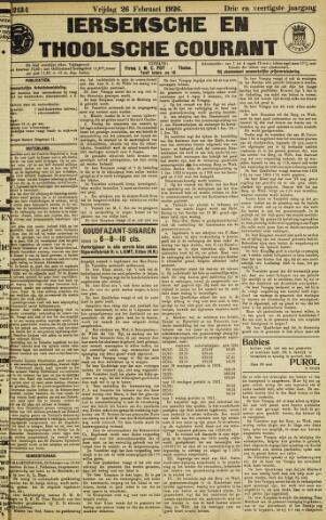 Ierseksche en Thoolsche Courant 1926-02-26