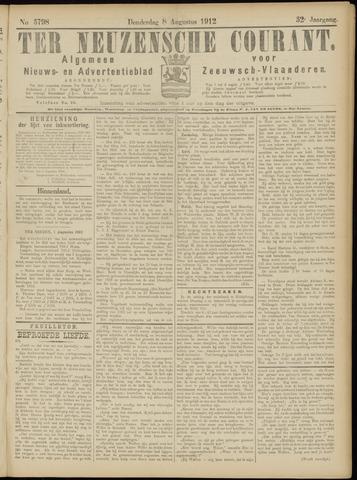 Ter Neuzensche Courant. Algemeen Nieuws- en Advertentieblad voor Zeeuwsch-Vlaanderen / Neuzensche Courant ... (idem) / (Algemeen) nieuws en advertentieblad voor Zeeuwsch-Vlaanderen 1912-08-08