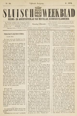 Sluisch Weekblad. Nieuws- en advertentieblad voor Westelijk Zeeuwsch-Vlaanderen 1874-12-01
