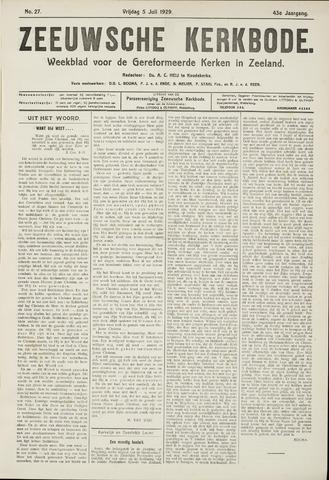 Zeeuwsche kerkbode, weekblad gewijd aan de belangen der gereformeerde kerken/ Zeeuwsch kerkblad 1929-07-05