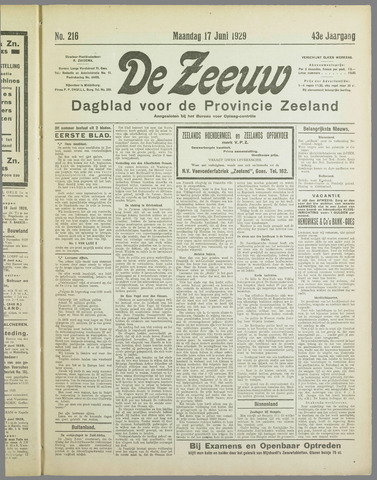 De Zeeuw. Christelijk-historisch nieuwsblad voor Zeeland 1929-06-17