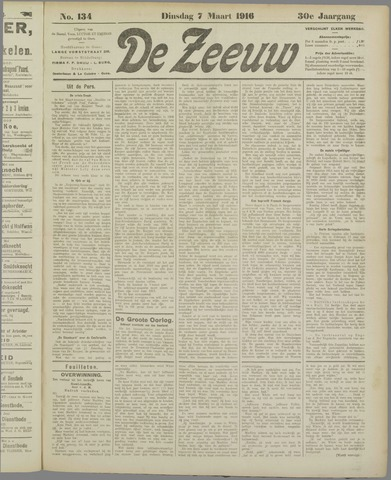 De Zeeuw. Christelijk-historisch nieuwsblad voor Zeeland 1916-03-07
