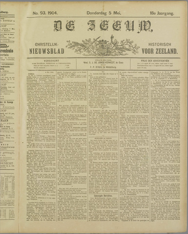 De Zeeuw. Christelijk-historisch nieuwsblad voor Zeeland 1904-05-05