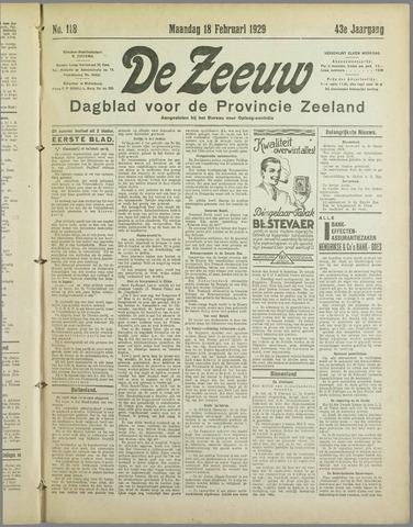 De Zeeuw. Christelijk-historisch nieuwsblad voor Zeeland 1929-02-18