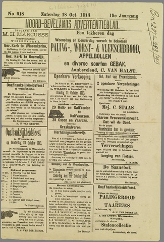 Noord-Bevelands Nieuws- en advertentieblad 1913-10-18