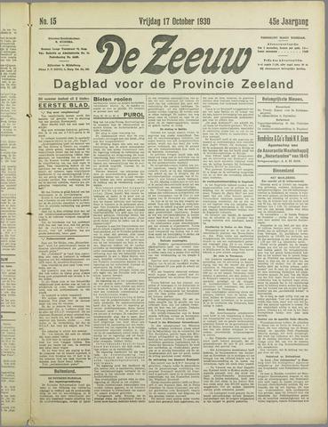 De Zeeuw. Christelijk-historisch nieuwsblad voor Zeeland 1930-10-17