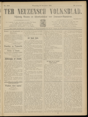 Ter Neuzensch Volksblad. Vrijzinnig nieuws- en advertentieblad voor Zeeuwsch- Vlaanderen / Zeeuwsch Nieuwsblad. Nieuws- en advertentieblad voor Zeeland 1912-11-13