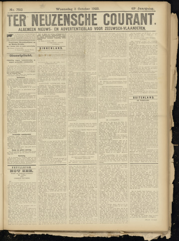 Ter Neuzensche Courant. Algemeen Nieuws- en Advertentieblad voor Zeeuwsch-Vlaanderen / Neuzensche Courant ... (idem) / (Algemeen) nieuws en advertentieblad voor Zeeuwsch-Vlaanderen 1923-10-03