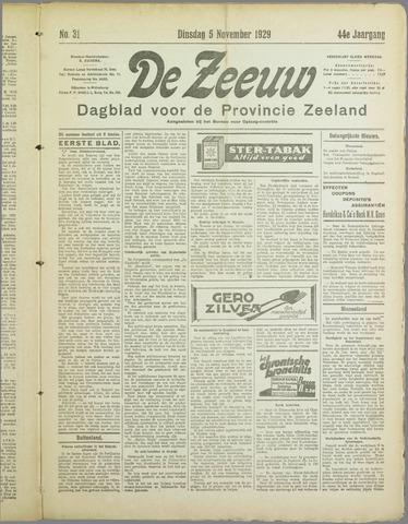 De Zeeuw. Christelijk-historisch nieuwsblad voor Zeeland 1929-11-05