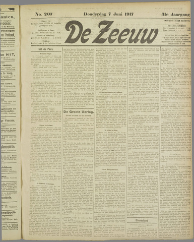De Zeeuw. Christelijk-historisch nieuwsblad voor Zeeland 1917-06-07