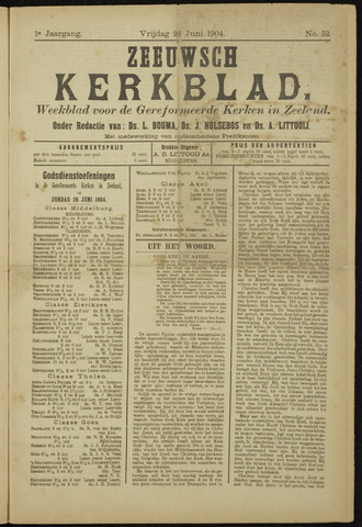 Zeeuwsche kerkbode, weekblad gewijd aan de belangen der gereformeerde kerken/ Zeeuwsch kerkblad 1904-06-24