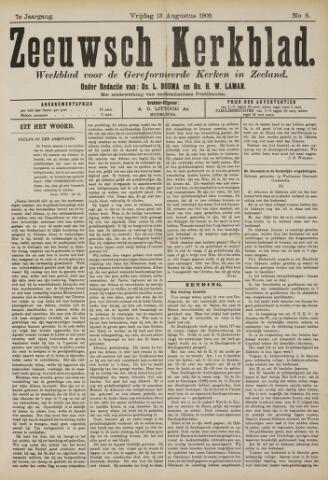 Zeeuwsche kerkbode, weekblad gewijd aan de belangen der gereformeerde kerken/ Zeeuwsch kerkblad 1909-08-13