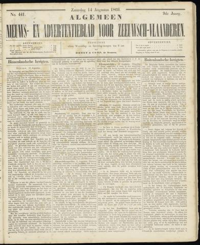 Ter Neuzensche Courant. Algemeen Nieuws- en Advertentieblad voor Zeeuwsch-Vlaanderen / Neuzensche Courant ... (idem) / (Algemeen) nieuws en advertentieblad voor Zeeuwsch-Vlaanderen 1869-08-14