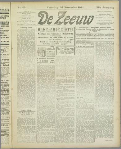 De Zeeuw. Christelijk-historisch nieuwsblad voor Zeeland 1921-11-26