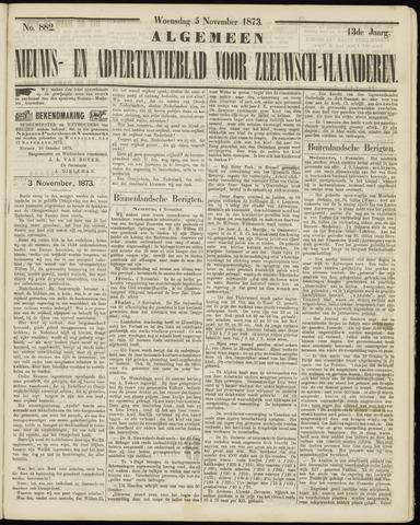 Ter Neuzensche Courant. Algemeen Nieuws- en Advertentieblad voor Zeeuwsch-Vlaanderen / Neuzensche Courant ... (idem) / (Algemeen) nieuws en advertentieblad voor Zeeuwsch-Vlaanderen 1873-11-05