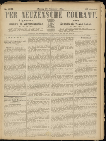 Ter Neuzensche Courant. Algemeen Nieuws- en Advertentieblad voor Zeeuwsch-Vlaanderen / Neuzensche Courant ... (idem) / (Algemeen) nieuws en advertentieblad voor Zeeuwsch-Vlaanderen 1899-09-26
