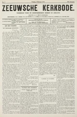 Zeeuwsche kerkbode, weekblad gewijd aan de belangen der gereformeerde kerken/ Zeeuwsch kerkblad 1934-02-02