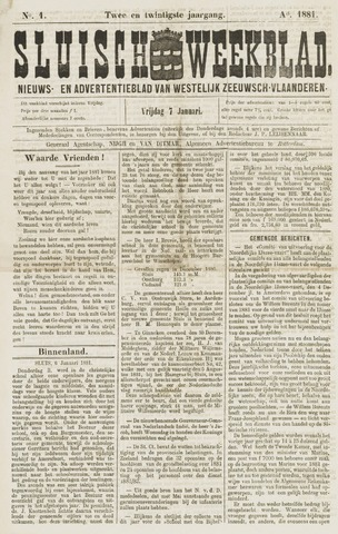 Sluisch Weekblad. Nieuws- en advertentieblad voor Westelijk Zeeuwsch-Vlaanderen 1881