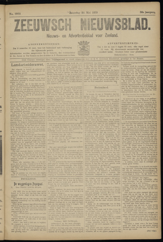 Ter Neuzensch Volksblad. Vrijzinnig nieuws- en advertentieblad voor Zeeuwsch- Vlaanderen / Zeeuwsch Nieuwsblad. Nieuws- en advertentieblad voor Zeeland 1919-05-24