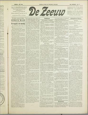 De Zeeuw. Christelijk-historisch nieuwsblad voor Zeeland 1934-05-01