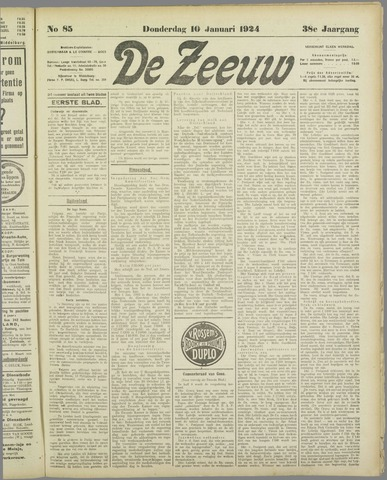 De Zeeuw. Christelijk-historisch nieuwsblad voor Zeeland 1924-01-10
